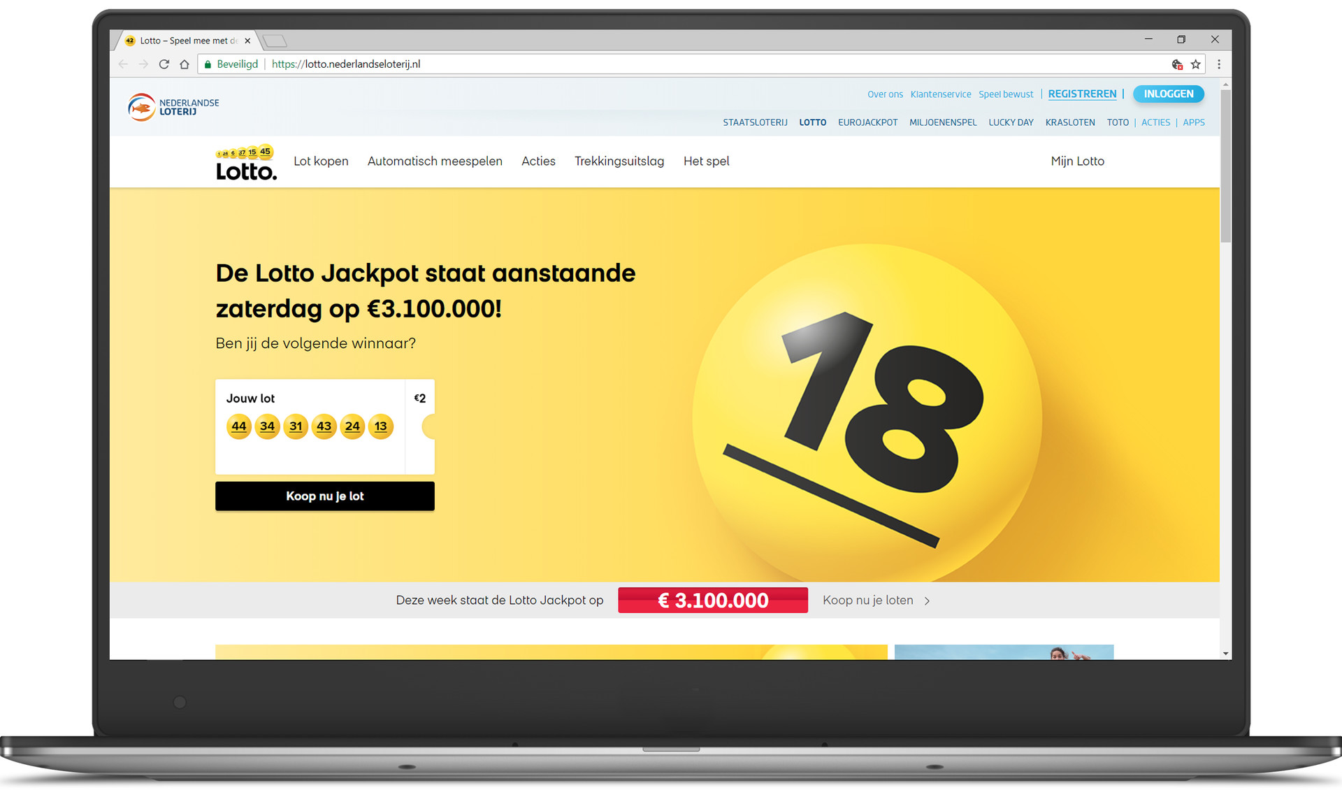De nieuwe Lotto-website door Q42 en Fabrique