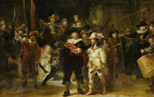 Rembrandts schilderij De Nachtwacht in het Rijksmuseum Amsterdam